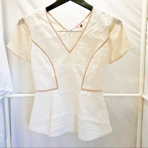 Rebecca Taylor Textured Knit Silk Accent Blouse